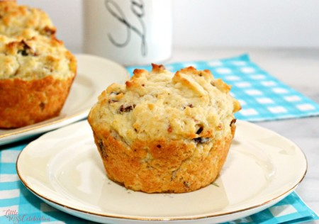These Buttermilk Bacon Muffins can be your secret weapon to get the family out of bed on a weekend morning! Savory, tender & delicious! At littlemisscelebration.com
