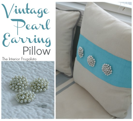 Vintage Pearl Earring Pillow from The Interior Frugalista