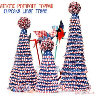 Patriotic Pompom Topped Cupcake Liner Trees