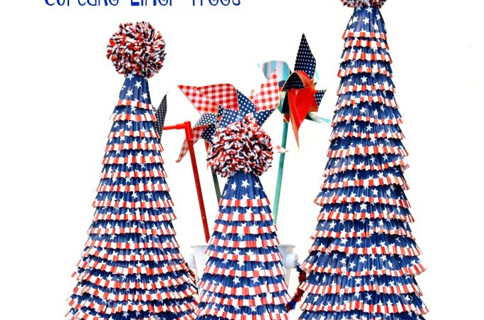 Make your red, white & blue decor shine with easy, Patriotic Pompom Topped Cupcake Liner Trees! Adorable & easy! at littlemisscelebration.com