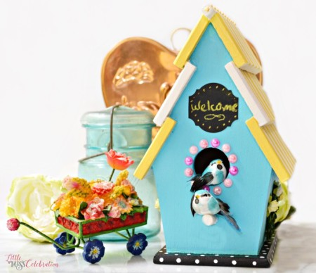 Bring a touch of the outdoors inside with a sunshine chic birdhouse! A cute, slat roof wood birdhouse gets painted in the colors of summer sun and sky, with garden touches. At littlemisscelebration.com