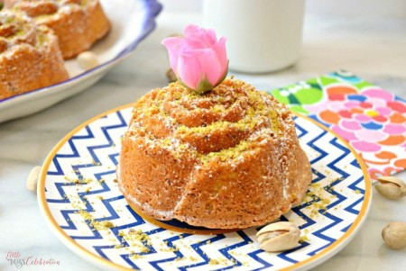 Baked as mini-cakes or one beautiful cake, Pistachio & Rose Water Cream Pound Cakes make a beautiful dessert for any spring celebration! Recipe at littlemisscelebration.com