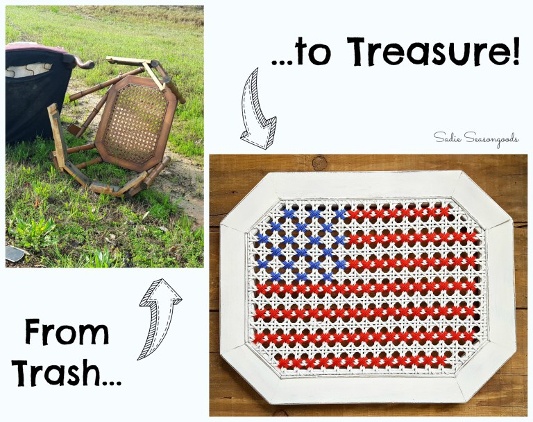 Broken Cane Chair to Oversized Cross Stitch American Flag from Sadie Seasongoods
