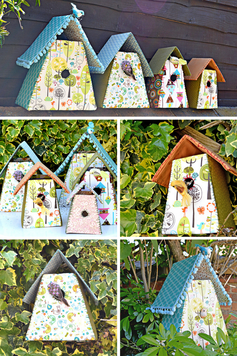 Homemade Fabric Birdhouses from Pillar Box Blue