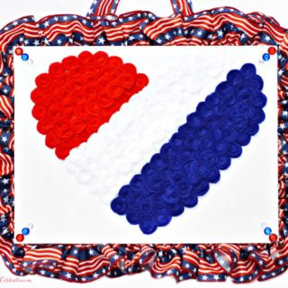 Fly the flag outside and this Love the USA Rosette Heart Art indoors! Fun & easy July 4th project! At littlemisscelebration.com