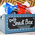 A small wooden crate that's pre-painted with a chalkboard front makes it a snap to put together this Easy Snack Crate for Dad! Fill with his favorite munchies! at littlemisscelebration.com