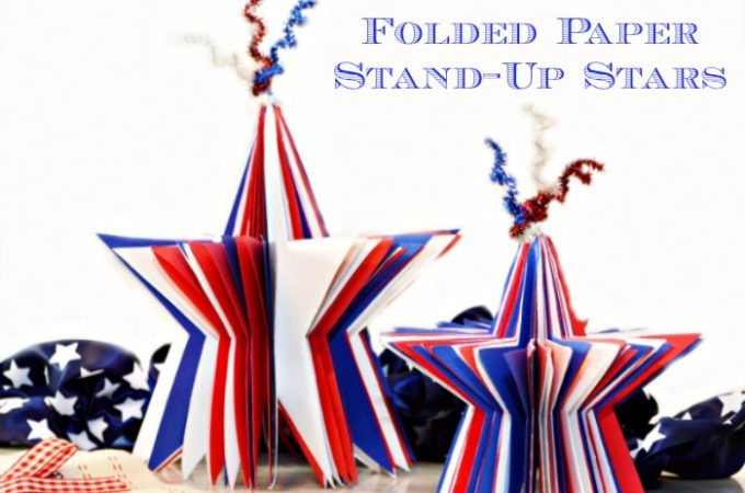 Made from card stock and tinsel stems, Folded Stand-Up Paper Stars are a fun, family project for the 4th! at littlemisscelebration.com