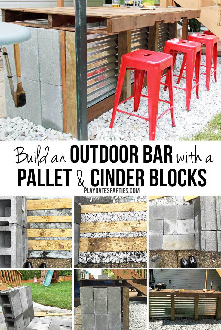 DIY Cinder Block and Pallet Outdoor Bar from From Play Dates to Parties