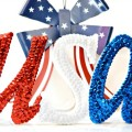 Make a super sparkly, sequined tabletop USA! Use for the 4th and to cheer our summer Olympians! at littlemisscelebration.com