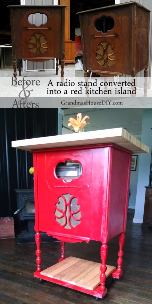 Radio Stand Converted to a Red Kitchen Island from Grandma's House DIY