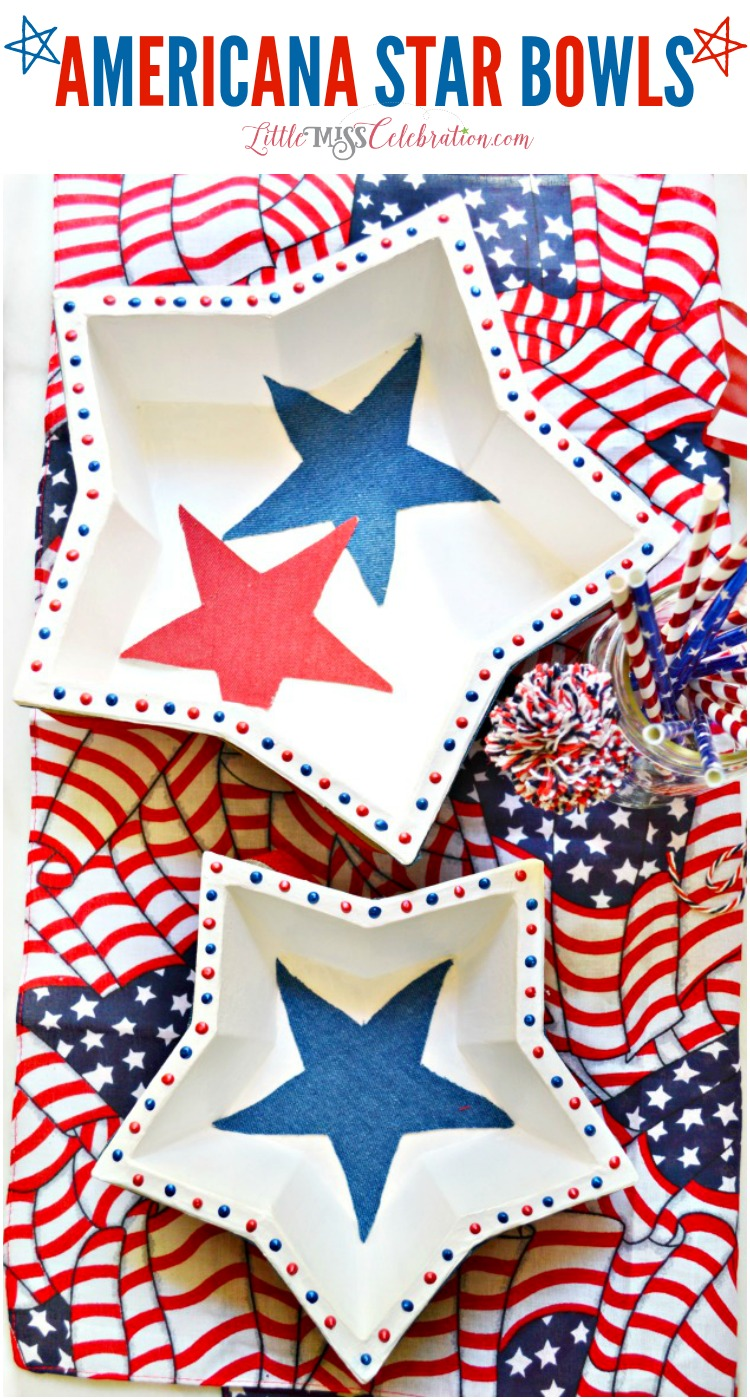 Paper mache shapes become Americana Star Bowls with a little paint, fabric, ribbon and liquid pearls! at littlemisscelebration.com
