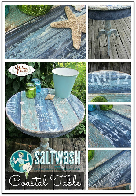 Coastal Table with Faux Planks and Saltwash from Patina Paradise