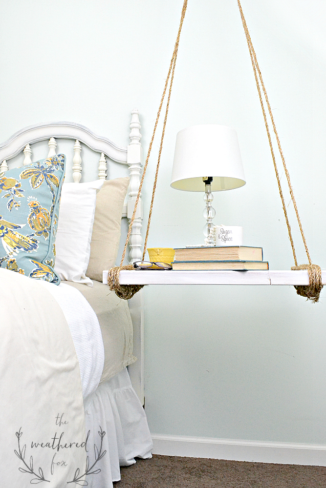Hanging Nightstand DIY from The Weathered Fox