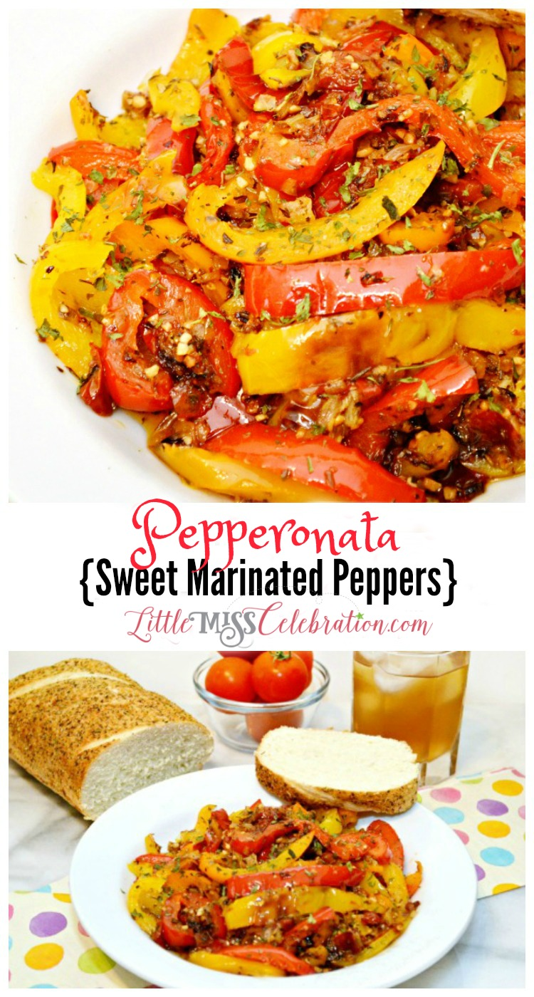 Serve Pepperonata-sweet, marinated peppers- as an appetizer with plenty of Italian bread to soak up the flavorful oil! Recipe at littlemisscelebration.com