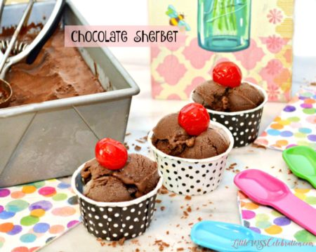 Make rich, Chocolate Sherbet with a just a few ingredients – no ice cream maker needed! littlemisscelebration.com