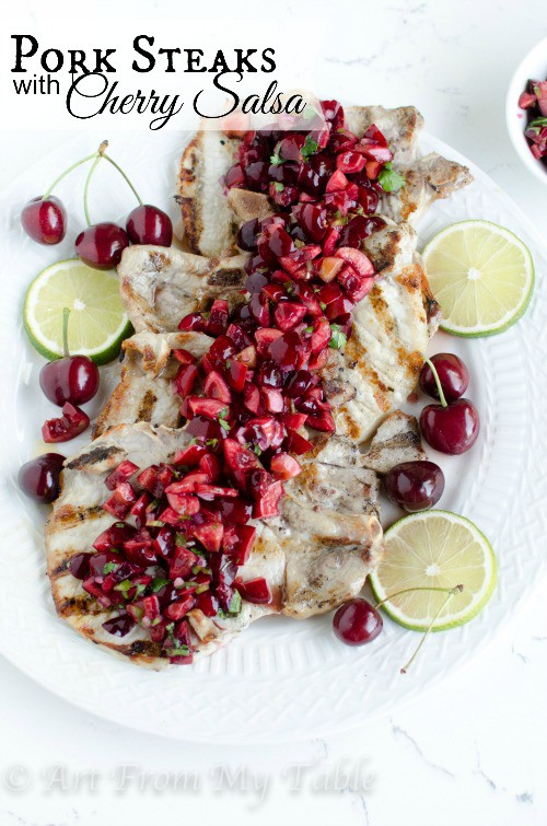 Grilled Pork Chops with Cherry Salsa from Art from My Table