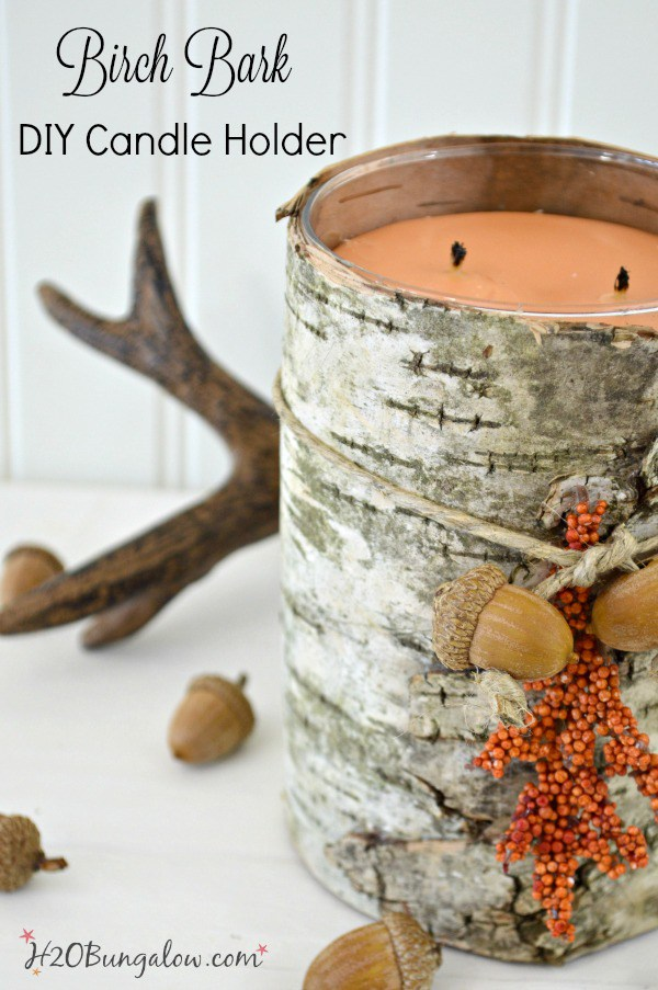 DIY Birch Bark Candle Holder from H2O Bungalow