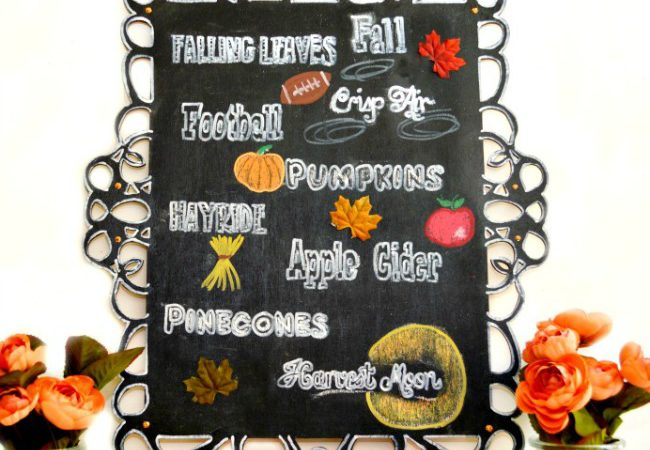 Profess your love for everything fall fabulous with this Autumn Favorites Chalkboard! at littlemisscelebration.com