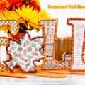 Welcome the arrival of autumn with some shimmer and shine! Sequined Fall Wood Letters are a great addition to your autumn tabletop decor. At littlemisscelebration.com