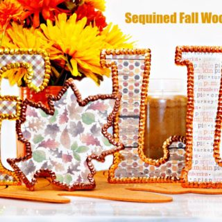 Sequined Fall Wood Letters