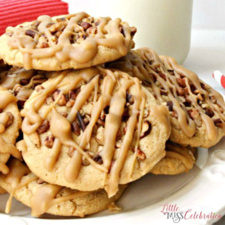 Bake a batch of crisp & chewy Praline Pecan Cookies on a cool, autumn afternoon! Recipe at littlemisscelebration.com
