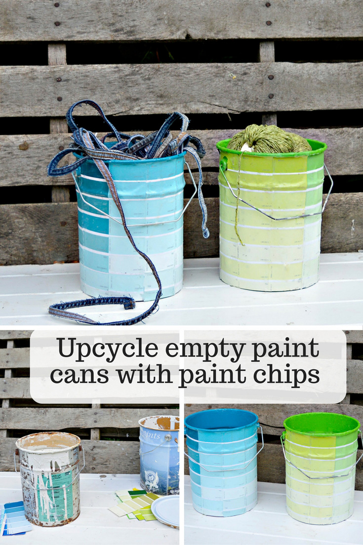 Upcycling Empty Paints Cans with Paint Chips from Pillar Box Blue