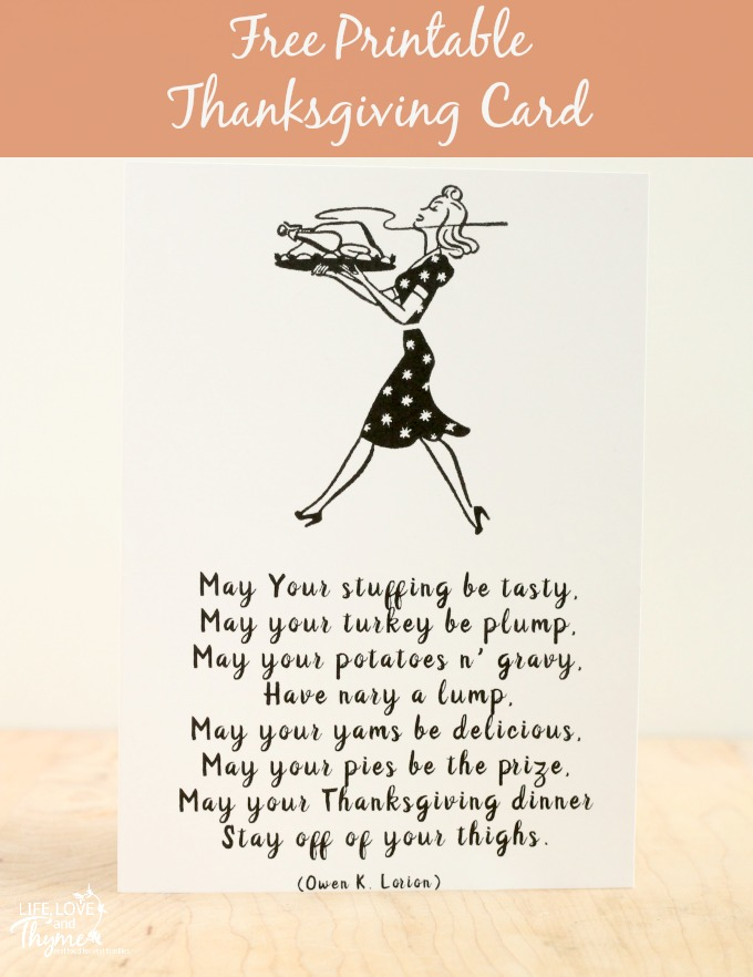 Free Printable Thanksgiving Card from Love, Life and Thyme