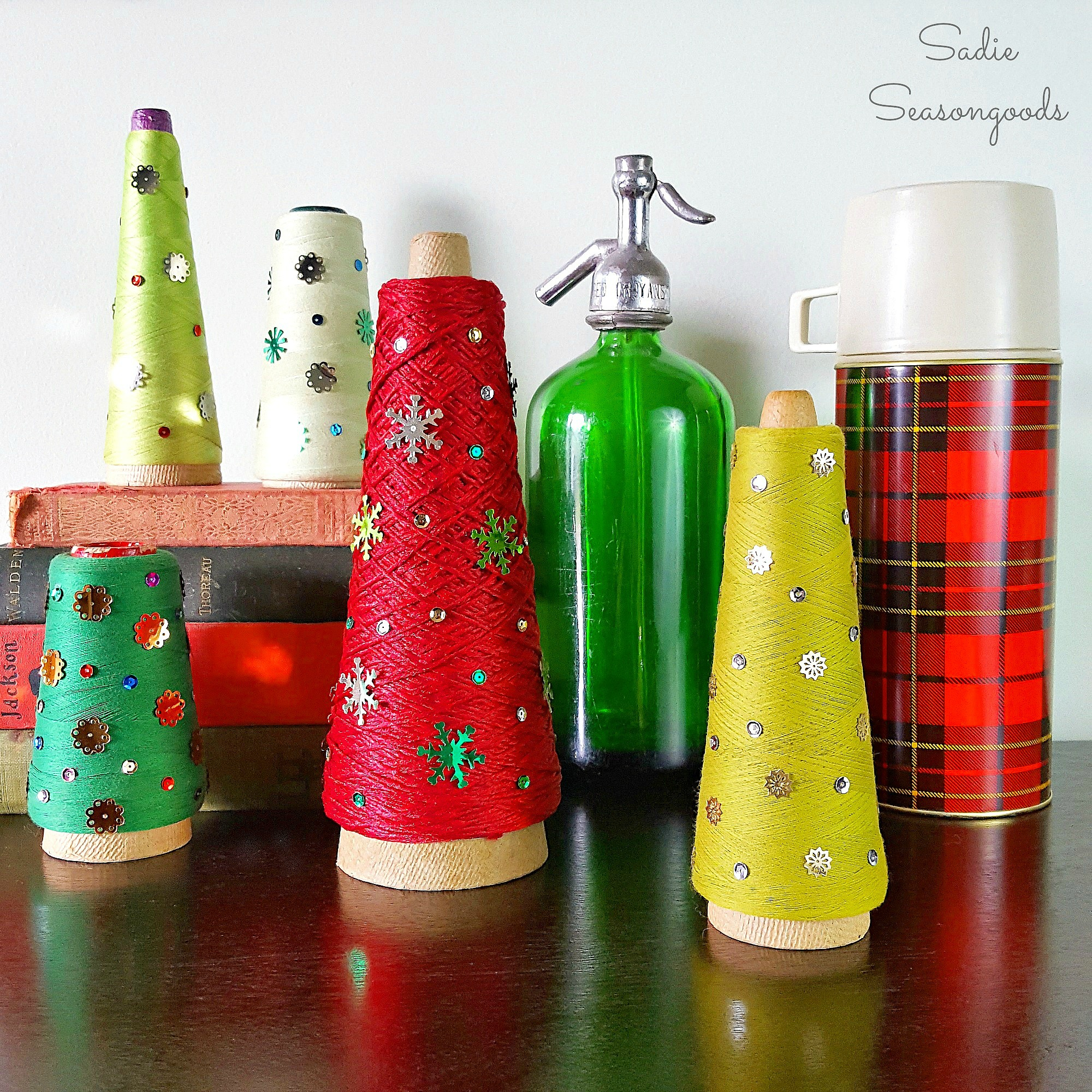 Vintage Industrial Serger Cone Christmas Trees from Sadie Seasongoods