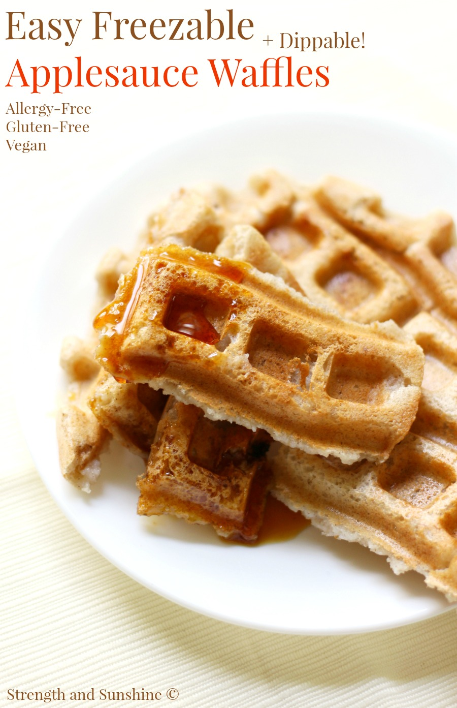 Easy Freezable Applesauce Waffles from Strength & Sunshine