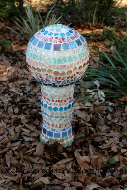 Decorative Garden Art Using a Vase and Glob from Eclectic Red Barn