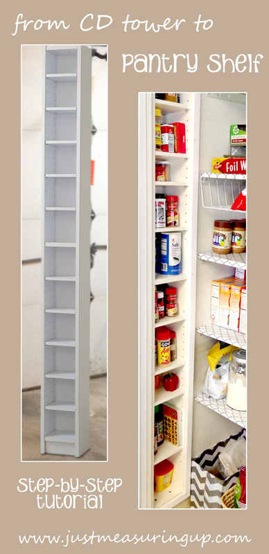 Converting a CD Tower Into A Pantry Shelf from Just Measuring Up