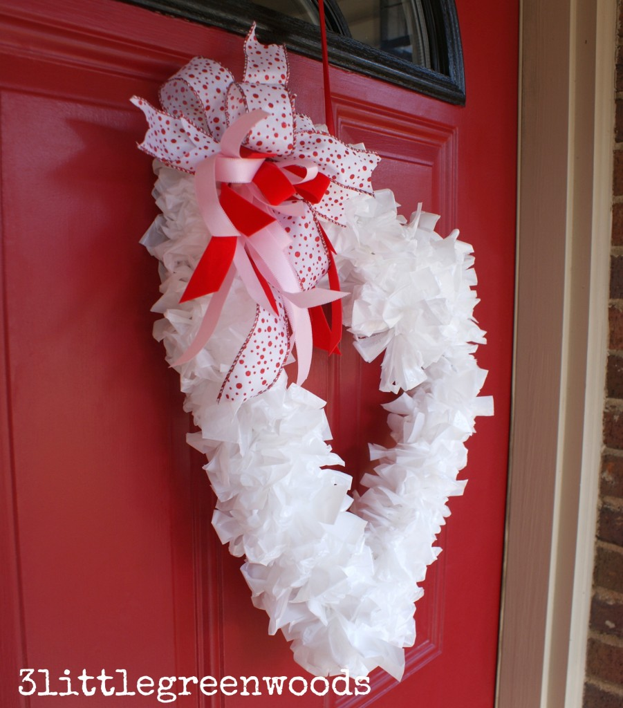 $2 Valentine Wreath Made from Trash Bags from 3 Little Greenwoods