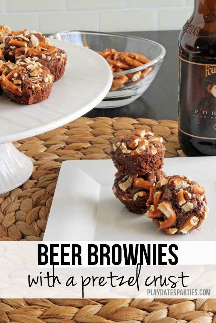 Beer Brownie with a Pretzel Crust from Play Dates to Parties
