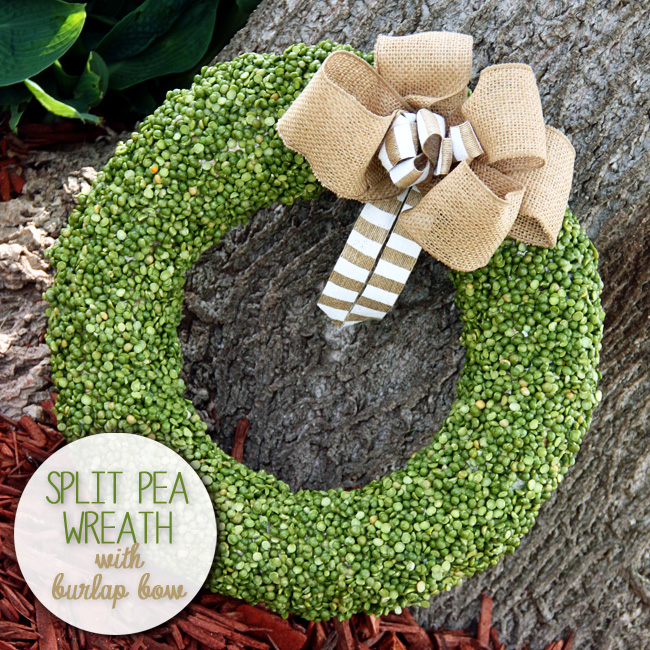 Spring Split Pea Wreath with Burlap Bow from Curly Crafty Mom