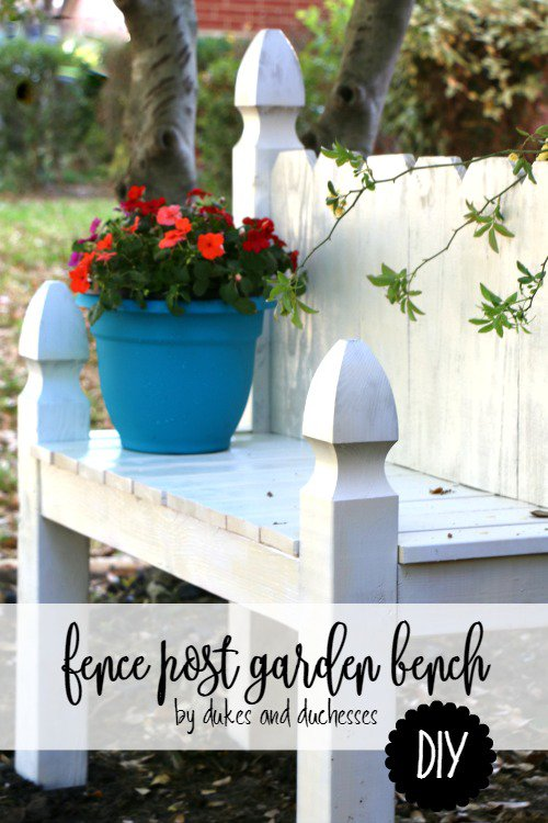 DIY Fence Post Garden Bench from Dukes and Duchesses