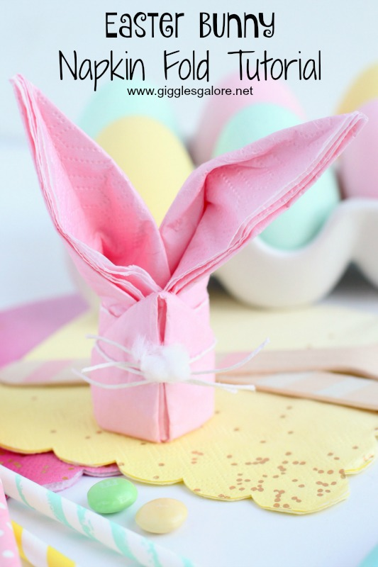 Easter Bunny Napkin Fold Tutorial from Giggles Galore