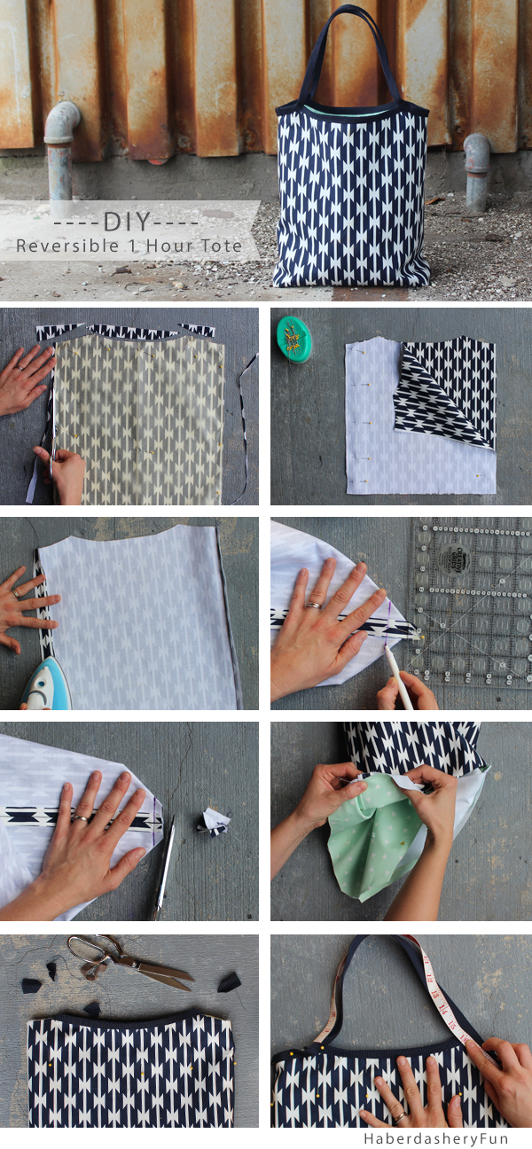 DIY Reversible 1 Hour Tote from Haberdashery Fun