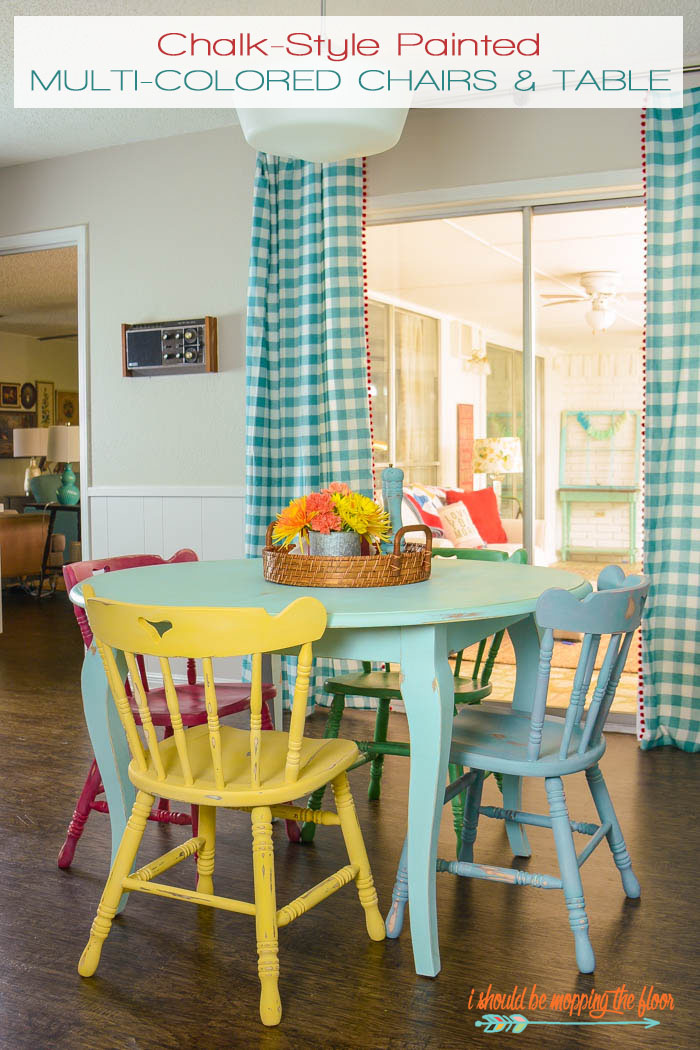 Chalk-Style Painted Multi-Colored Chairs and Table from i should be mopping the floor