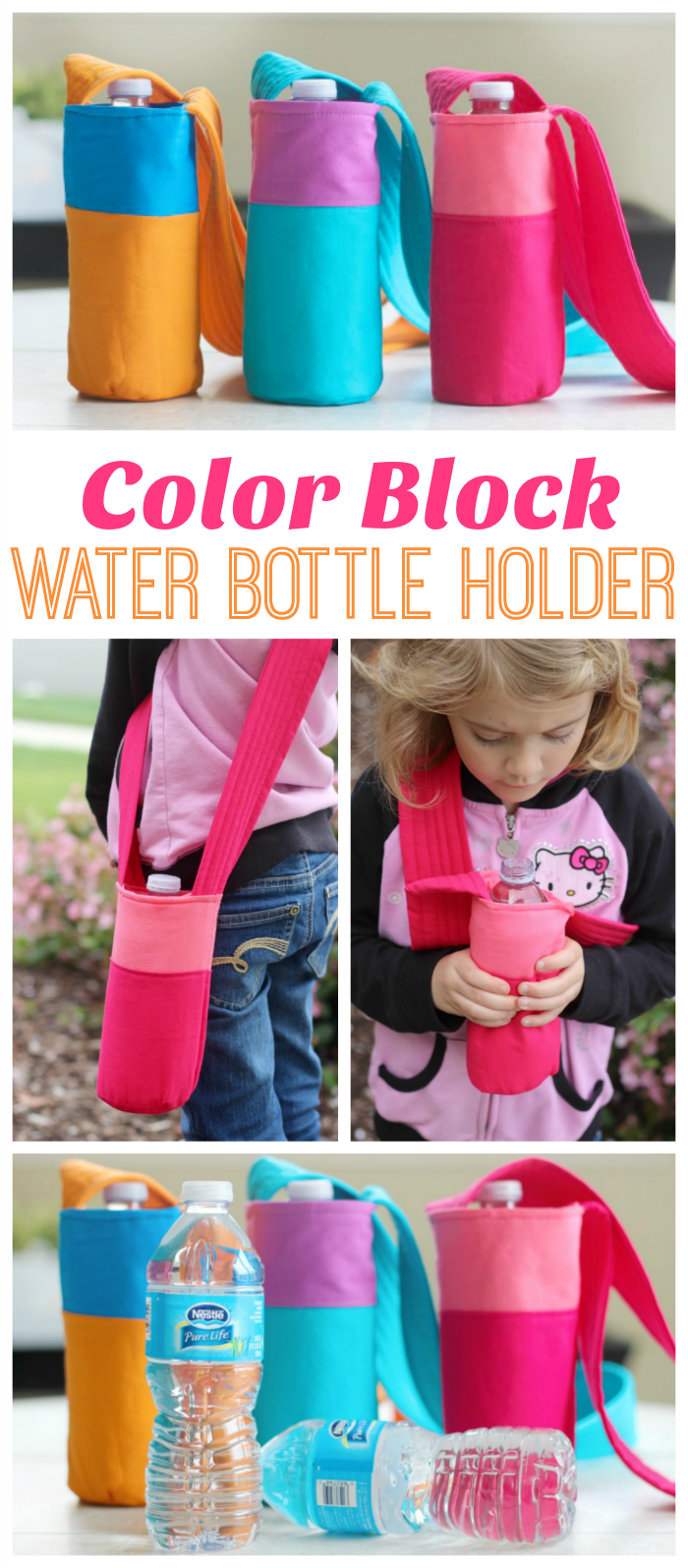 Color Block Fabric Water Bottle Holder from Gluesticks