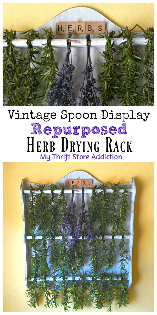 Vintage Spoon Display Repurposed Herb Drying Rack from My Thrift Store Addiction