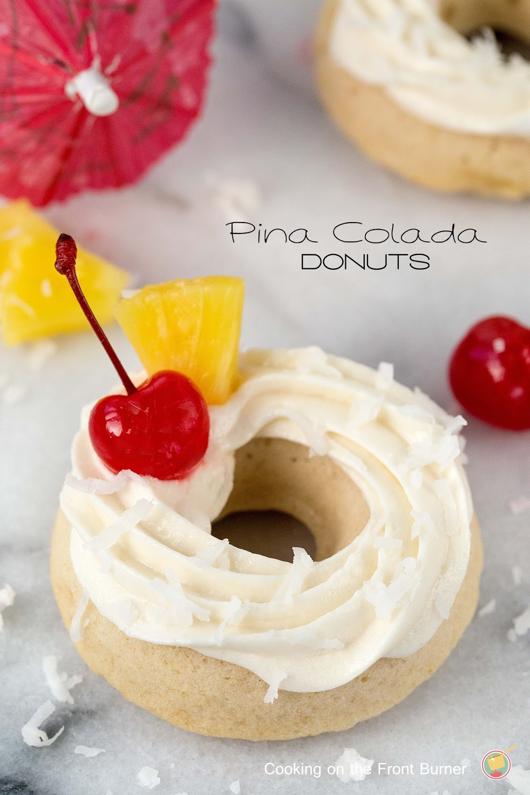 Pina Colada Donuts from Cooking on the Front Burner