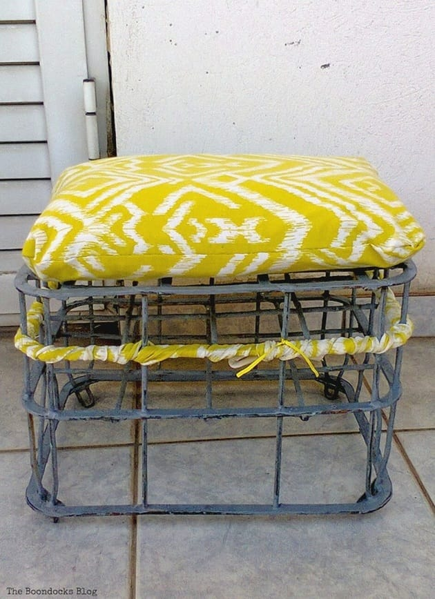 A Milk Crate Turned Stool from The Boondocks Blog