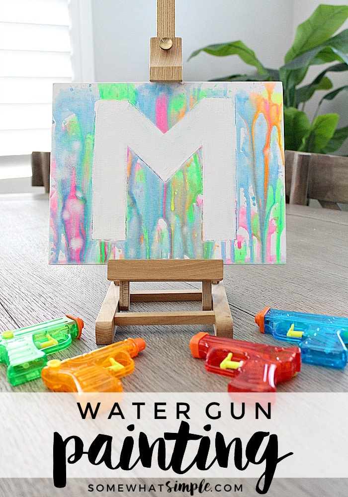 Art Projects for Kids-Water Gun Painting from Somewhat Simple
