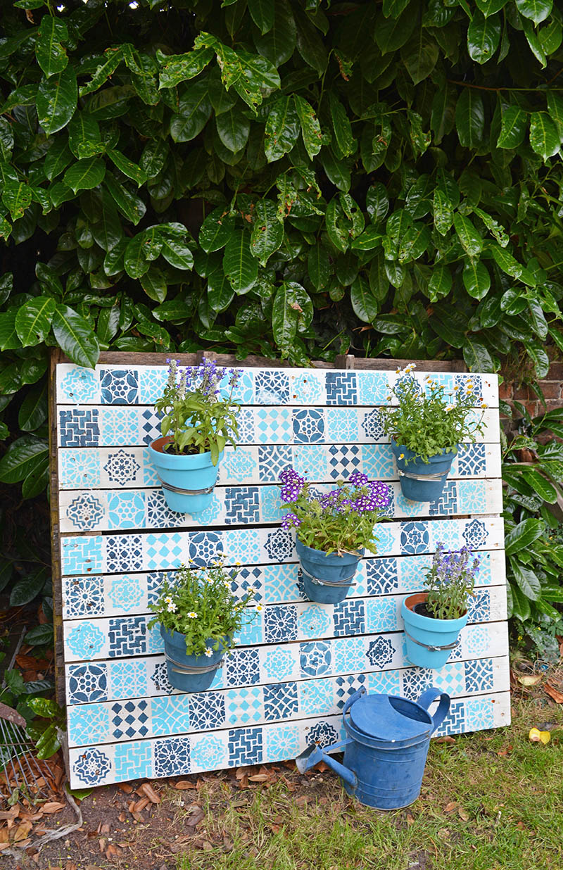 Moroccan Style Painted Wood Pallet Garden from Pillar Box Blue