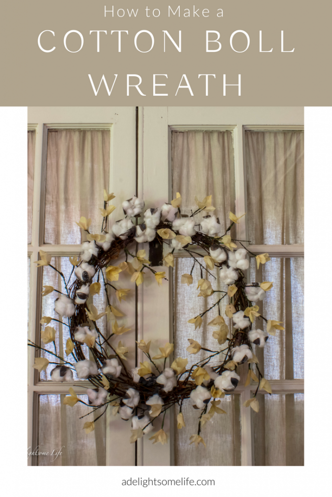 How To Make a Lovely Rustic Cotton Boll Wreath from A Delightsome Life