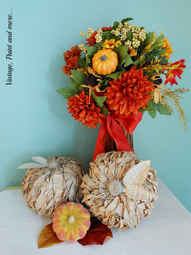 Twisted Paper Pumpkins from Vintage, Paint and More