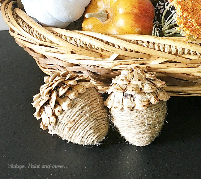 Easy Twine Wrapped Acorns from Vintage Paint and More