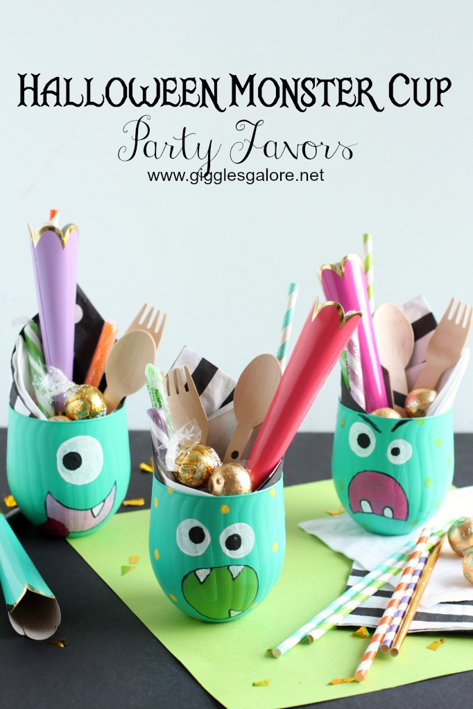 Halloween Monster Cup Party Favors from Giggles Galore